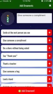 Christmas Tree of Kindness App Select kindness